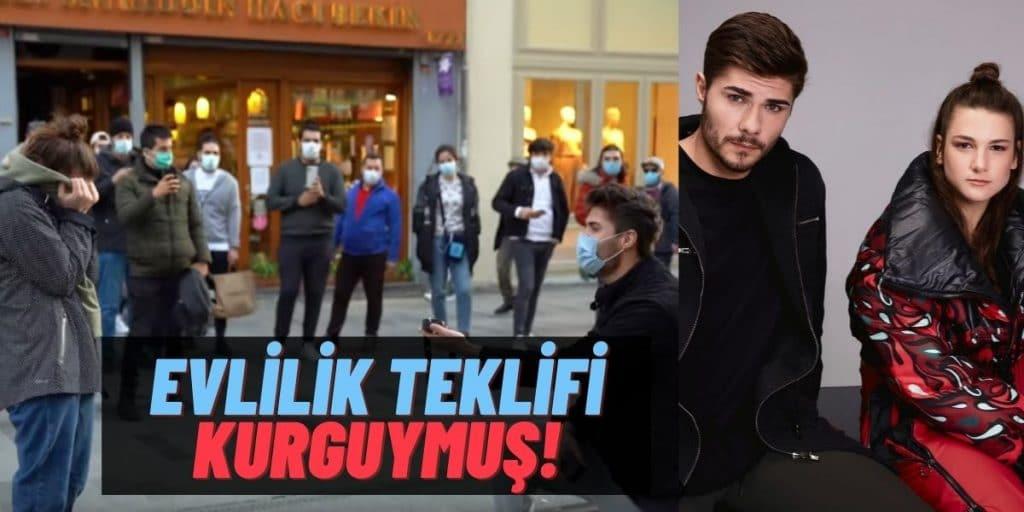 Barış Murat Yağcı'nın Nisa Bölükbaşı'na İstiklal Caddesinde Yaptığı Evlilik Teklifi Kurgu Çıktı: Video İçinmiş!